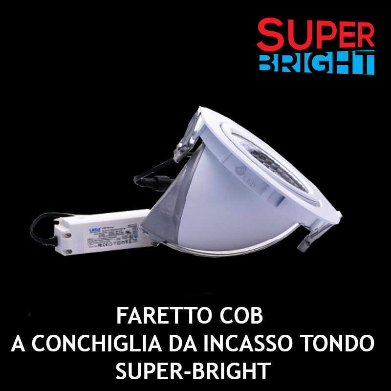 FARETTO COB A CONCHIGLIA DA INCASSO TONDO SUPER-BRIGHT